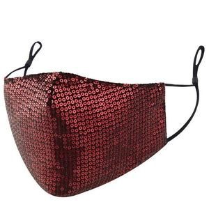 Red Sequin Face Mask with Adjustable Straps